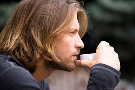 Cameron Lickle sips an espresso.